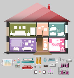 house in cut rooms with furniture vector image vector image