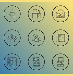 Interior icons line style set with tv stand vector