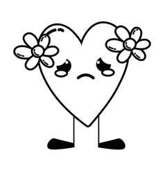 line crying heart with flowers kawaii and legs vector image