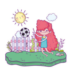 little girl playing soccer in the landscape vector image