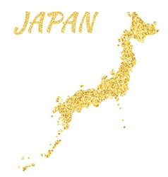 Map of Japan in golden With gold yellow particles vector
