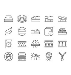 Mattress line icon set vector