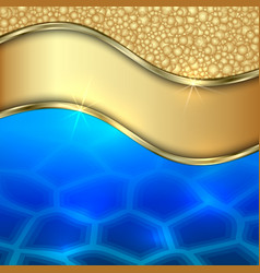 Metallic gold water and foam decorative background vector