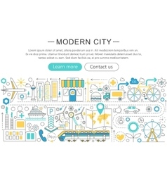 Modern line flat design Modern smart city vector