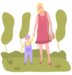 mom and child are walking in park hand mother vector image