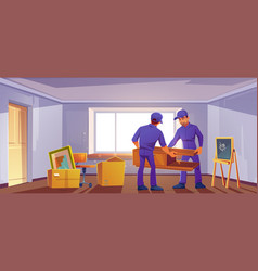 Move to new house concept loaders bring furniture vector