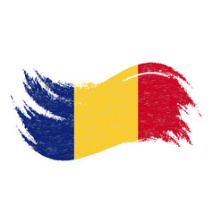 National flag of romania designed using brush vector