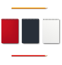 notebook isolated with pencils white background vector image