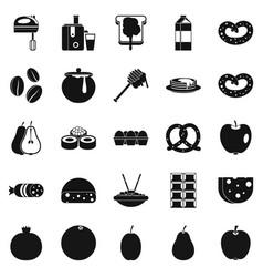 Nourishment icons set simple style vector