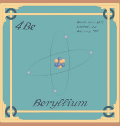 periodic table element beryllium colorful icon vector image