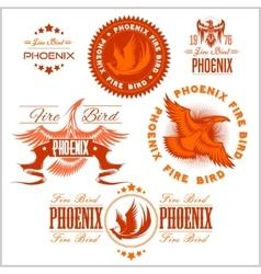 Phoenix - set of fire birds and flames logo vector image