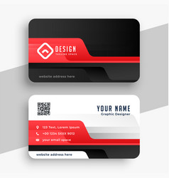 professional corporate card in red color theme vector image