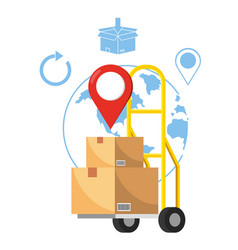 Pushcart with box vector
