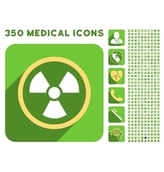 Radiation Danger Icon and Medical Longshadow Icon vector