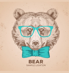 retro hipster animal bear hand drawing muzzle vector image