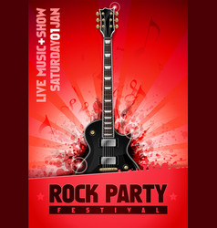 Rock festival concert party flyer with guitar vector