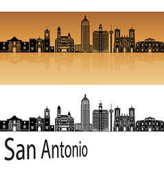 San Antonio skyline in orange vector image