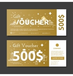 Set of gold voucher vector image