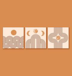 Set of modern minimalist mid century prints vector