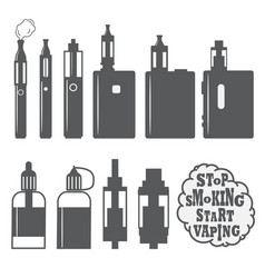 Set vaping objects icons elements vector