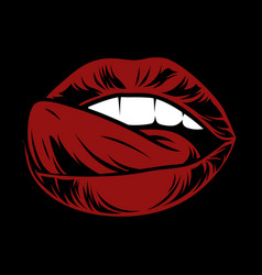 sexy lips open mouth with tongueattractive female vector image