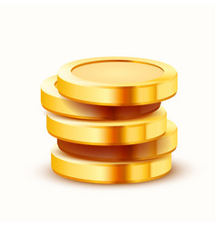 stack golden coins isolated on white background vector image