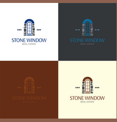 Stone window logo and vector