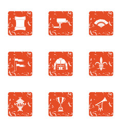 Supervision icons set grunge style vector