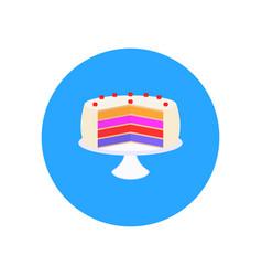 Sweet cake with strawberries on a plate vector