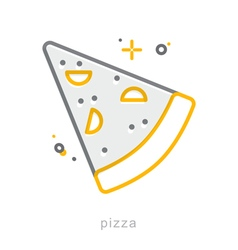 Thin line icons Pizza vector image