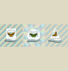 three colored labels with common vector image