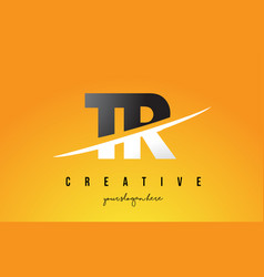 Tr t r letter modern logo design with yellow vector