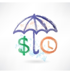umbrella dollar and clock grunge icon vector image