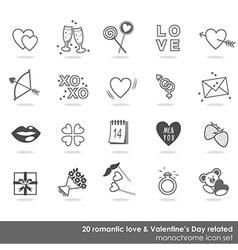 valentines day love icon set vector image
