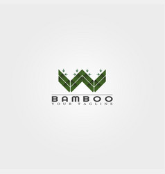 W letter bamboo logo template creative design vector