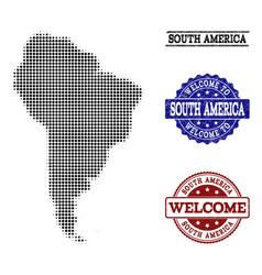 Welcome collage of halftone map of south america vector