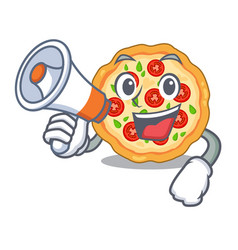 With megaphone margherita pizza in a cartoon oven vector