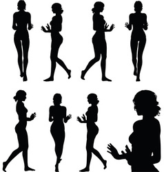 Woman silhouette with hand gesture push or stop vector