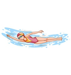 Woman swimming in the pool vector