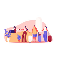 women with luggage at guesthouse front desk inn vector image