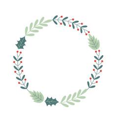 wreath floral decoration celebration merry vector image