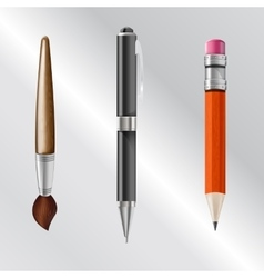 Writing implements including pencil pen brush vector