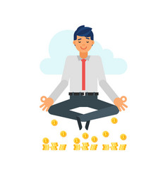 businessman in yoga pose vector image vector image