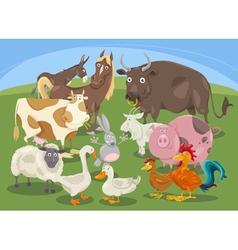 farm animals group cartoon vector image vector image