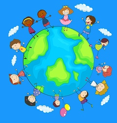 Happy children around the world vector