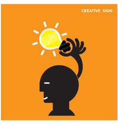 Head and Creative bulb light ideaflat design vector image