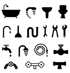 plumbing and bathroom icons vector image