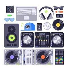 set various stylized dj music equipment vector image