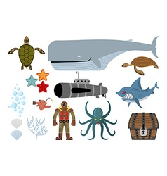 Underwater world set Keith and submarine shark and vector image vector image