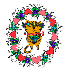 bright festive funny cat for valentine s day vector image